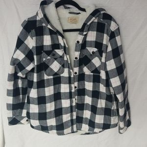 Sherpa Lined Plaid Button Up Hoodie